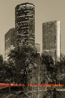 Photograph - Driving Through Houston Texas - Sepia Vertical by Gregory Ballos