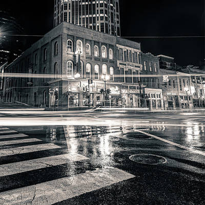 Photograph - Driving Through The Nashville Night Skyline - Black And White by Gregory Ballos