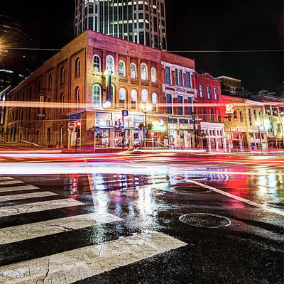 Photograph - Driving Through The Nashville Night Skyline by Gregory Ballos