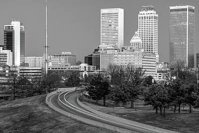 Photograph - Driving Up To The Tulsa Skyline At Dawn - Black And White by Gregory Ballos