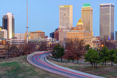 Photograph - Driving Up To The Tulsa Skyline At Dawn by Gregory Ballos