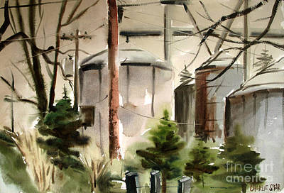 Print featuring the painting Drizzle Mists Midst Furry Pines Plein Air by Charlie Spear