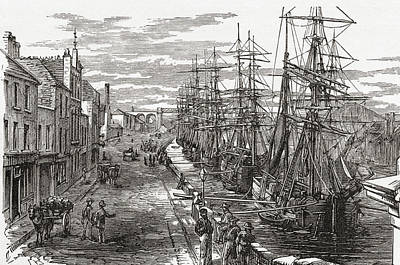 Port Town Drawing - Drogheda Harbour, County Louth, Ireland by Vintage Design Pics