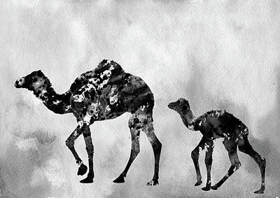 Dromedary Digital Art - Dromedary Camels-black by Erzebet S