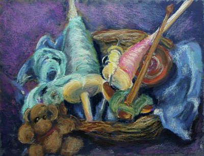 Spindles Painting - Drop Spindle Still Life by Julia Evans