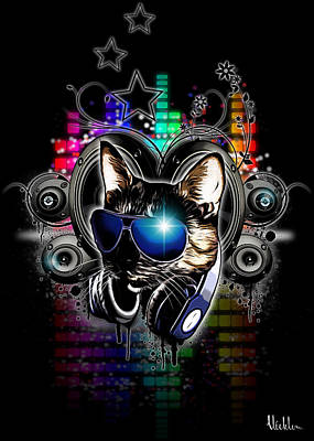 Kitties Digital Art - Drop The Bass by Nicklas Gustafsson