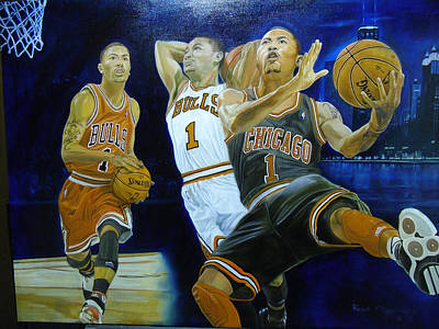 2374e5716680 Nba Basketball Painting - Drose by Ralph Megginson III