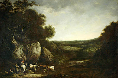 Painting - Drovers In A Landscape by Benjamin Barker