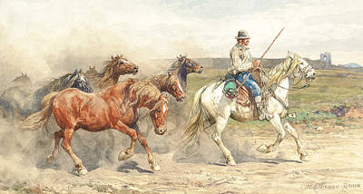 Running Horses Drawing - Droving Horses In The Roman Campagna by Enrico Coleman