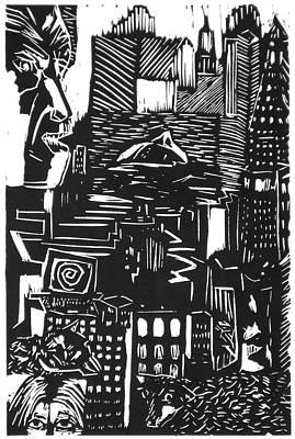 Drowning In Metropolis Print by Darkest Artist