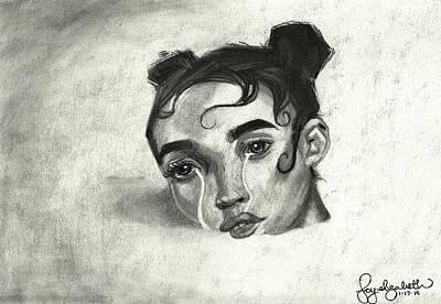 Tears Drawing - Drowning by Joy Marshall