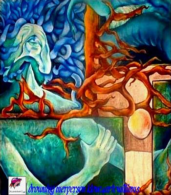 Painting - Drowning Merperson by Carol Rashawnna Williams