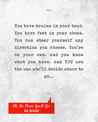 Mixed Media Royalty Free Images - Dr.Seuss Quotes - Oh, The Places Youll Go - Literary Quotes - Book Lover Gifts - Typewriter Quotes Royalty-Free Image by Studio Grafiikka