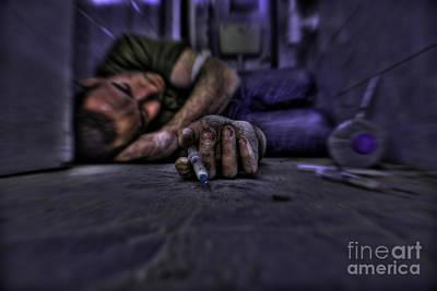 Drug Addict Shooting Up Art Print