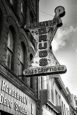 Note Card Photograph - Drug Store Sign by Steven Ainsworth