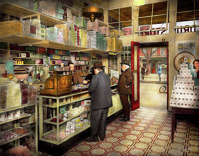 Drugstore - Exact Change Please 1920 Art Print by Mike Savad