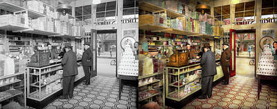 Drugstore - Exact Change Please 1920 - Side By Side Art Print by Mike Savad