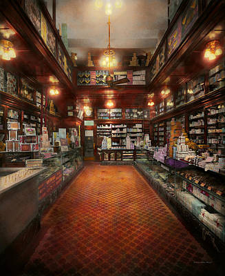Photograph - Drugstore - G.w. Armstrong Drug Store 1913 by Mike Savad