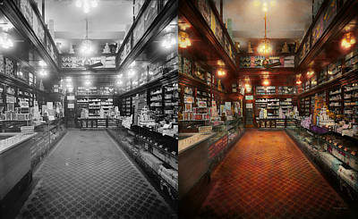 Photograph - Drugstore - G.w. Armstrong Drug Store 1913 - Side By Side by Mike Savad