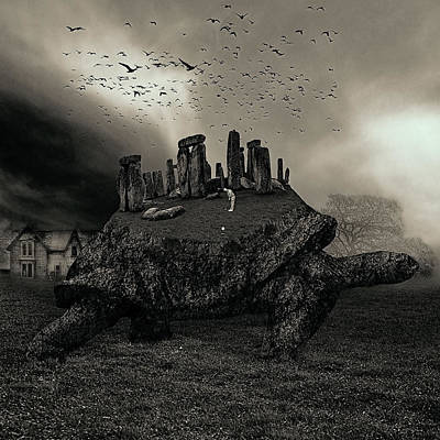 Turtle Digital Art - Druid Golf Black And White by Marian Voicu