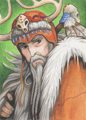 Aceo Drawing - Druid Priest by Amy S Turner