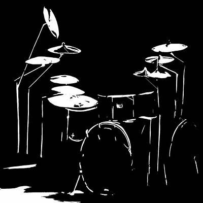 Drum Kit Digital Art - Drum Art Black And White by Karen Harding
