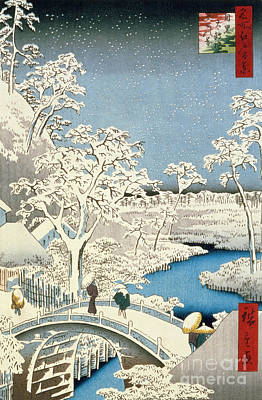 Winter Scene Painting - Drum Bridge And Setting Sun Hill At Meguro by Hiroshige