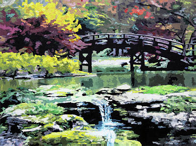 Painting - Drum Bridge Missouri Botanical Garden by John Lautermilch