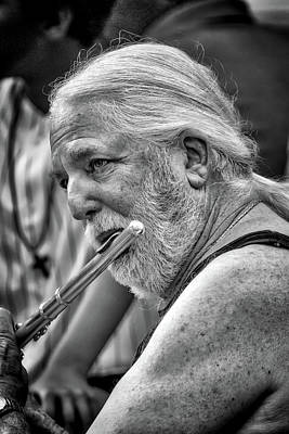 Photograph - Drum Circle Flautist by John Haldane
