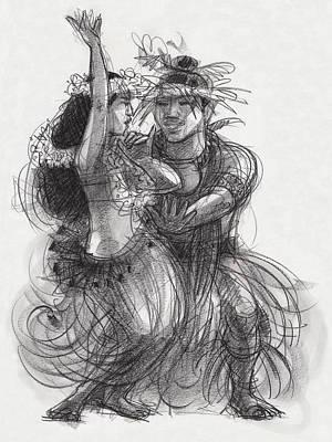 Drawing - Drum Dance Pas-de-deux by Judith Kunzle