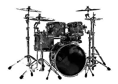Photograph - Drum Set Black And White by Athena Mckinzie