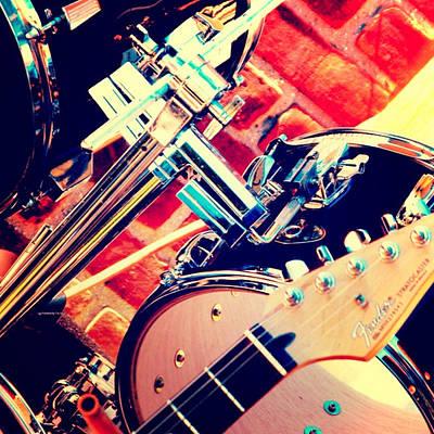 Guitar Player Mixed Media - Drum Set by Brandi Fitzgerald