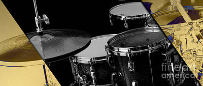 Drum Kit Mixed Media - Drum Set Collection by Marvin Blaine