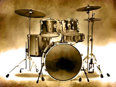 Photograph - Drum Set Golden by Athena Mckinzie