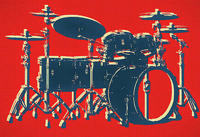 Mixed Media - Drum Set Pop Art by Dan Sproul