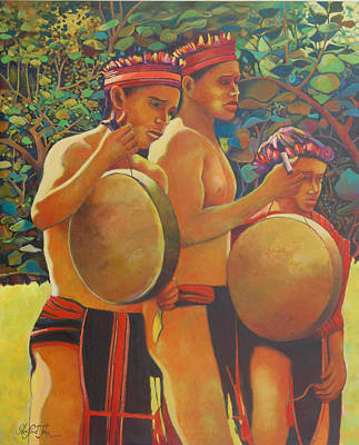 Painting - Drumbeat Of The Kalinago by Glenford John