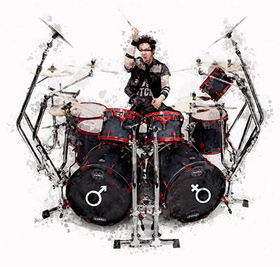 Drummer Mixed Media - Drummer Controlled Chaos by Daniel Hagerman