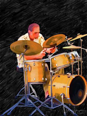 Painting - Drummer - Kurt Bischoff by Wally Hampton