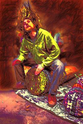 Drummer On Fire Art Print by John Haldane