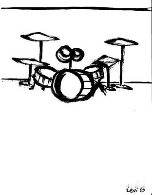 Long Center Drawing - Drumset by Levi Glassrock
