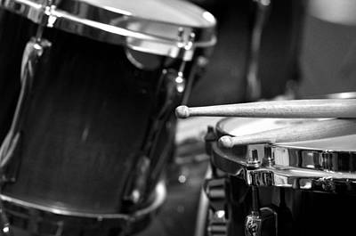Drumstick Photograph - Drumsticks And Drums In Black And White by Rebecca Brittain