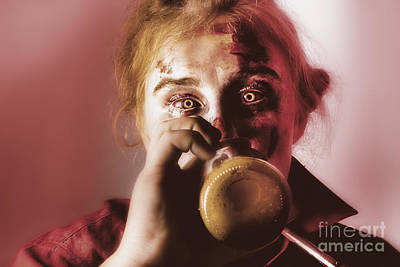 Beer Royalty-Free and Rights-Managed Images - Drunk ghoul sculling beer at Halloween party by Jorgo Photography - Wall Art Gallery