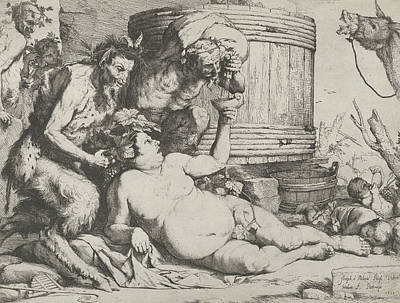 Relief - Drunken Silenus Holding A Cup Aloft Into Which A Satyr Pours Wine by Treasury Classics Art