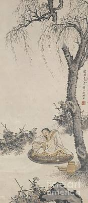 Painting - Drunken Tao Yuanming With Chrysanthemums by Celestial Images