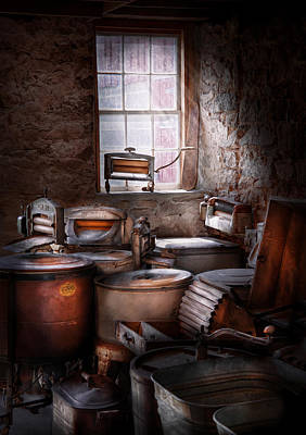 Old Fashioned Tub Photograph - Dry Cleaner - Put You Through The Wringer  by Mike Savad