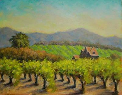 California Vineyard Painting - Dry Creek Valley View by David LeRoy Walker