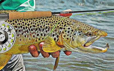 Dry Fly Brown Art Print by Alex Suescun