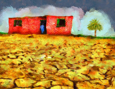 Yellow Painting - Dry Land by George Rossidis