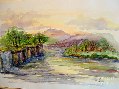 Steele Painting - Dry River Falls by Tina Steele Penn