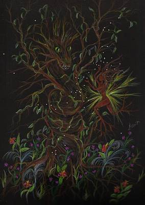 Art Print featuring the drawing Dryad Brings News by Dawn Fairies